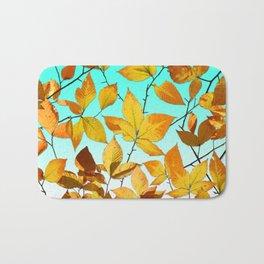 Autumn Leaves Azure Sky Bath Mat