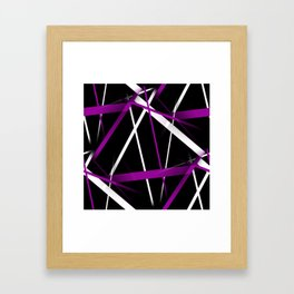 Seamless Purple and White Stripes on A Black Background Framed Art Print
