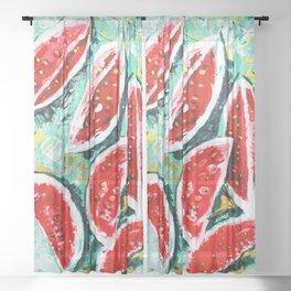watermelon acrylic art Sheer Curtain