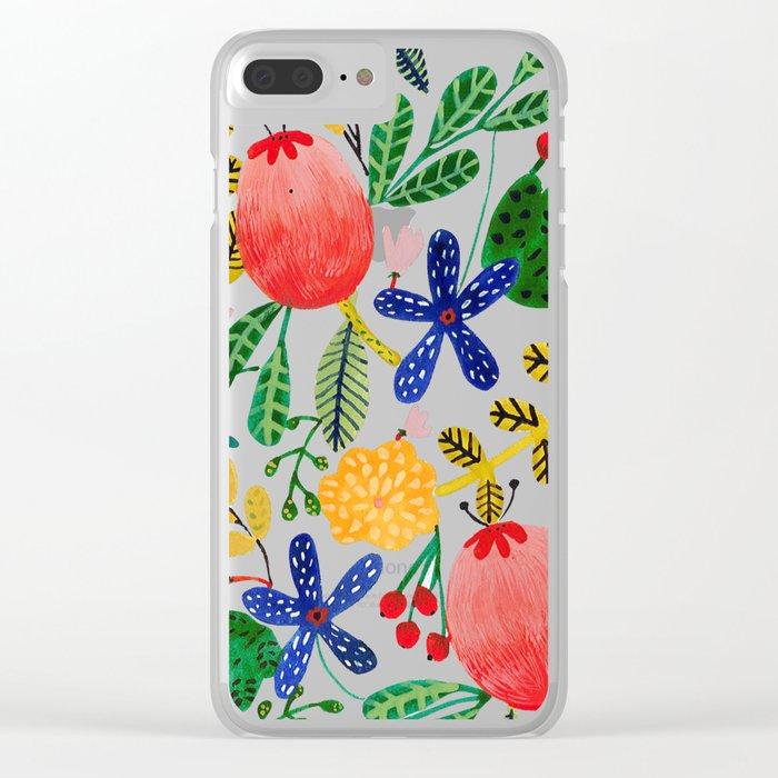 Gouache Flowers Clear iPhone Case