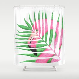 Pink Flamingo Palm Leaf Shower Curtain