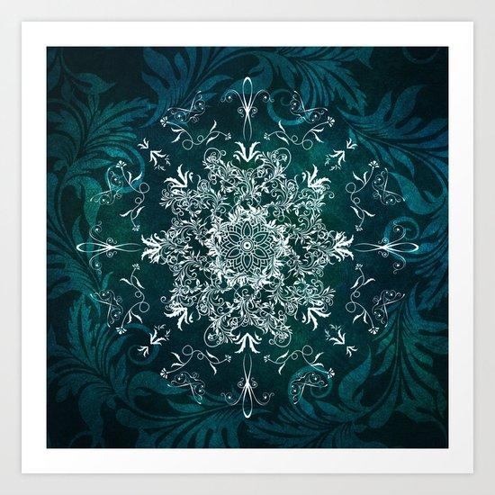Elegant Floral leaf pattern Blue Green Art Print
