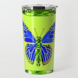 BLUE & GREEN  BUTTERFLY PERIDOT GEMMED GEOMETRIC Travel Mug
