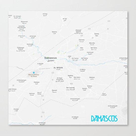 Minimalist Modern Map of Damascus, Syria 1A Canvas Print on baghdad map, amman jordan map, tel aviv, arabian sea map, golan heights map, bashar al-assad, rome italy map, damascus citadel, tunis tunisia map, pakistan map, world map, beirut lebanon map, ancient damascus map, asma al-assad, tripoli lebanon map, mid east map, middle east map, jerusalem map, damascus oregon map, kabul afghanistan map, istanbul map, algiers algeria map, bahrain map, damascus steel,