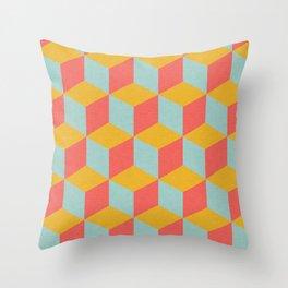 Cube pattern retro Orange Throw Pillow