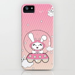 Space Bunny Flying iPhone Case