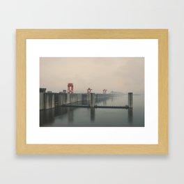 Foggy Three Gorges Dam Framed Art Print
