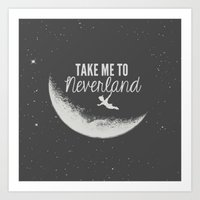 neverland Art Prints featuring Neverland by Pink Berry Patterns