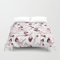 naked Duvet Covers featuring Naked Ladies Pattern by Esthera Preda