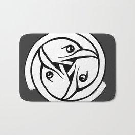 Celtic Art - Bird Head Triskele - on Grey Bath Mat