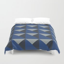 Blue + Gray Origami Geo Tile Duvet Cover