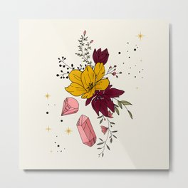 Flowers, Stars ans Crystals Metal Print