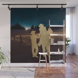Cowboy And Cowgirl Couple In The Moonlight Wall Mural