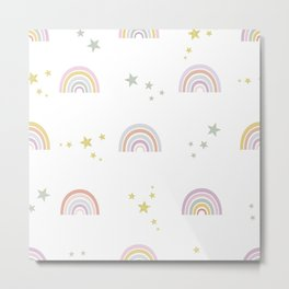 Baby rainbow with stars seamless repeat trendy pattern pastel colored for fabric design Metal Print