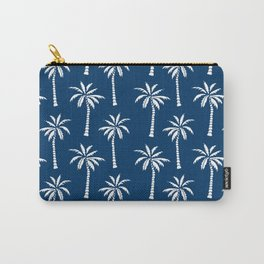 Palm trees navy tropical minimal ocean seaside socal beach life pattern print Carry-All Pouch