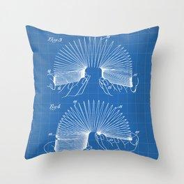 Slinky Patent - Slinky Toy Art - Blueprint Throw Pillow