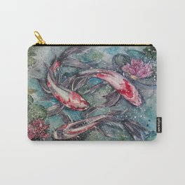 Harmony (Nishikigoi - Japanese Carps) Watercolor Painting Carry-All Pouch