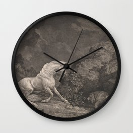 George Stubbs A Horse Affrighted by a Lion Black and White Vintage Ink Illustaration Fantasy Art Wall Clock