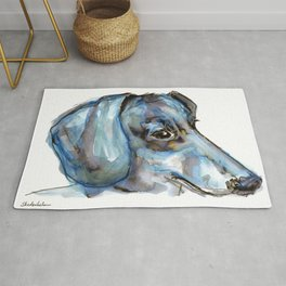 Dachshund with blues and silver Rug