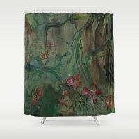 jungle Shower Curtains featuring jungle by rysunki-malunki