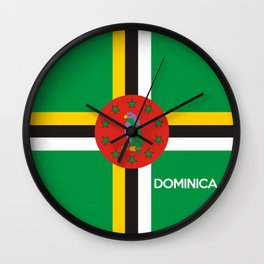 Dominica country flag name text Wall Clock