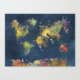World map blue splash art print by jbjart society6 world map blue splash canvas print gumiabroncs Images