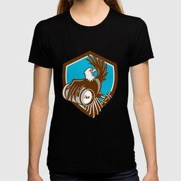 American Bald Eagle Beer Keg Crest Retro T-shirt