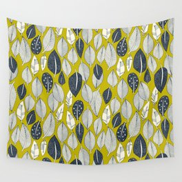 leaves and feathers chartreuse Wall Tapestry