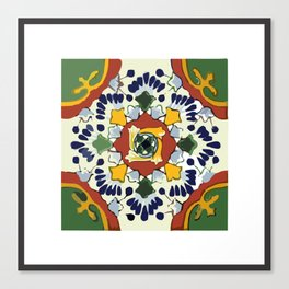Talavera Mexican tile inspired bold design in blue, green, red, orange Canvas Print