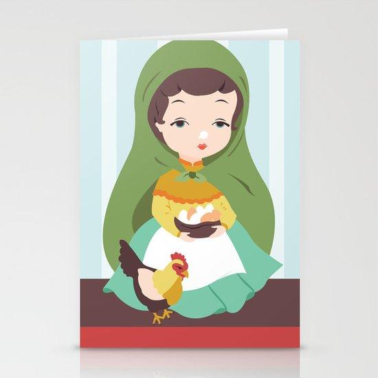Porcelain Girl (brunette) Stationery Cards