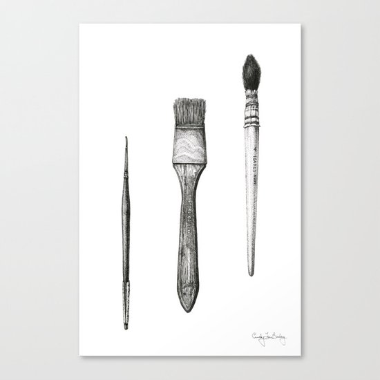 Retired Watercolor Brushes Canvas Print
