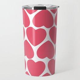 Seamless pattern with big pink hearts Travel Mug