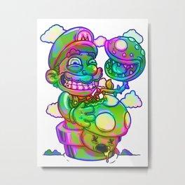 Psychedelic Trippy Mario Metal Print
