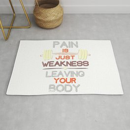 Pain Is Just Weakness Leaving Your Body - Gym Workout Retro Text Art Rug