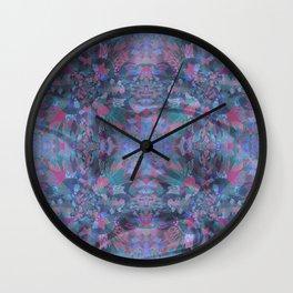 Silk Brocade Texture in Deep Lavender Wall Clock