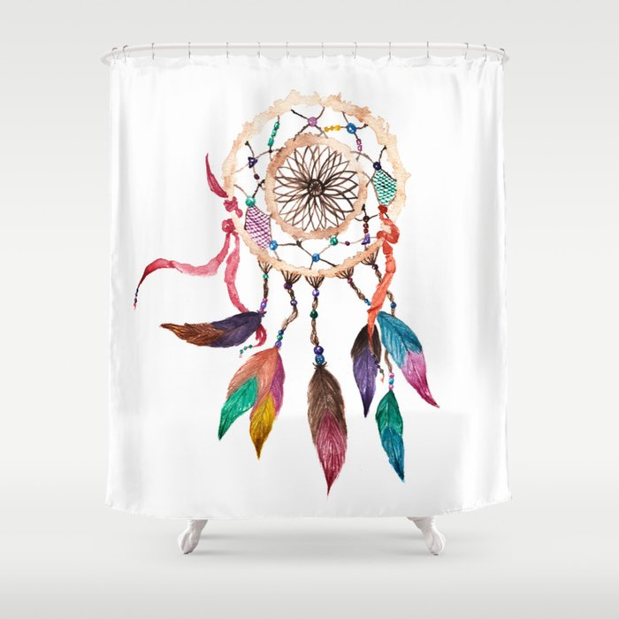 Native American Boho Vibrant Watercolor Beaded Dreamcatcher Shower Curtain