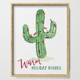 Warm holiday wishes Cactus with Holiday lights Serving Tray
