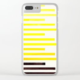 Yellow Minimalist Abstract Mid Century Modern Staggered Thin Stripes Watercolor Painting Clear iPhone Case