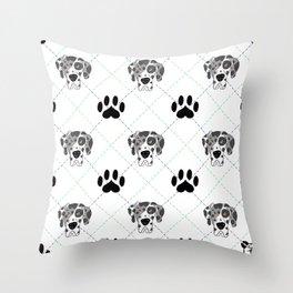 Merle Great Dane Paw Print Pattern Throw Pillow