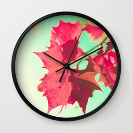 Red Maple Leafs Wall Clock