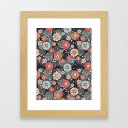 fantastic flowers on a black background Framed Art Print