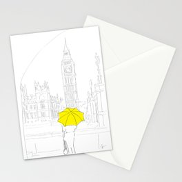 Yellow Umbrella Travel Girl on the River Thames, London Stationery Cards