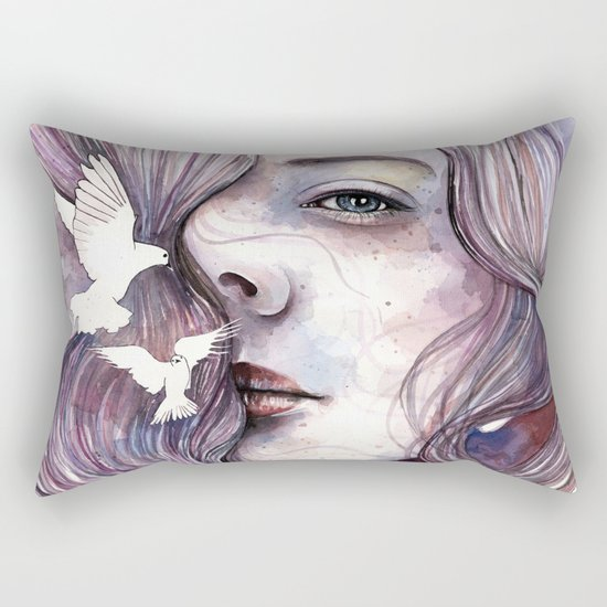 Dreams of freedom, watercolor artwork Rectangular Pillow
