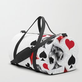Gray Background with Polygonal Playing Cards Symbols Duffle Bag