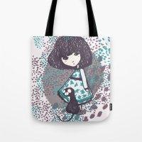 chihiro Tote Bags featuring the chihiro girl #2 by dora .