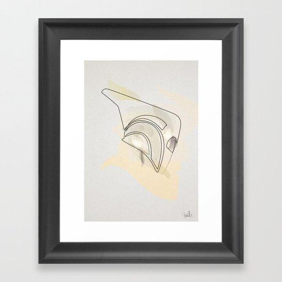 one line helmet:Rocketeer Framed Art Print