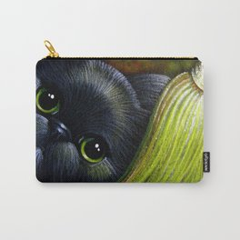 BLACK PERSIAN CAT with MAGIC WITCH BROOM Carry-All Pouch