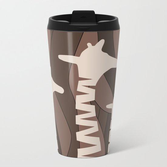Abstract Giraffe Family Metal Travel Mug