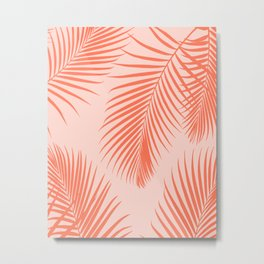 Coral Palms ~ Summer Tropical Pattern Metal Print