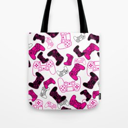 Video Games Pink on White Tote Bag